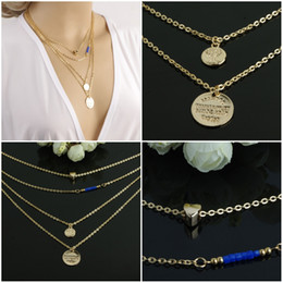 metal choker sexy Coupons - Charm Metal Hearts Multilayer Blue Crystal Necklace Sexy Vintage Fashion Pendants Jewelry Choker Necklace Free DHL G53L