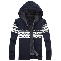 Wholesale Flax S - Young men cardigan sweater cotton flax plus thick velvet hooded warm jacket coat big yards loose knit sweater tide
