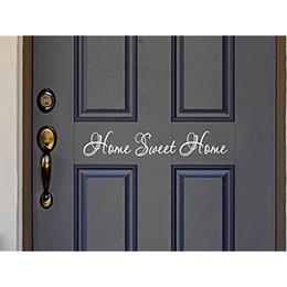 2019 pegatinas de pared letras palabras letras de vinilo Sweet Home Quote Wall Stickers Vinyl Lettering Word para puerta de entrada o Wall Art Decal Sticker pegatinas de pared letras palabras baratos