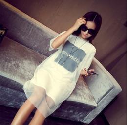 Senhora plus size S-4XL vestido mulher grande carta solta imprime grenadine manga curta gola de uma peça de