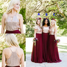 Wholesale Chiffon Junior Bridesmaid - 2018 Burgundy Bridesmaid Dresses Country Style Rose Gold Sequins Two Pieces Beach Junior Wedding Party Guest Gown Maid of Honor Dress Cheap