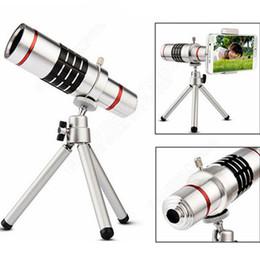 Trípode iphone telescopio online-Nuevo Universal 18X Ampliación Zoom Metal óptico Teléfono móvil Telescopio Teleobjetivo Lente de la cámara con trípode para iPhone 8 iPhone 7 Plus