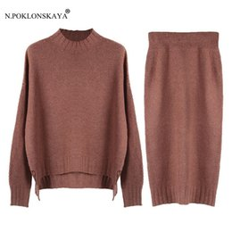 Wholesale Knitwear Sweaters For Women - 2 pcs Set Sweater for Women Sweaters Skirts Winter Warm Pullover Tops Knitwear Jumper Knit Skirt Female Casual Clothing Suit C13