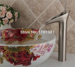 Wholesale Vessel Waterfall Faucets - Brushed Nickel Waterfall Bathroom Sink Faucet Vessel One Hole Single Handle Tap 8007S