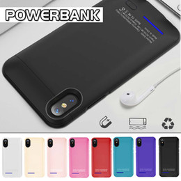 Wholesale Power Charger Battery Bank - For iPhone 6 7 8 Power Bank Slim Phone Charger Battery Case External Battery Back Cover Case With Kickstand For Phone X With Retail Package