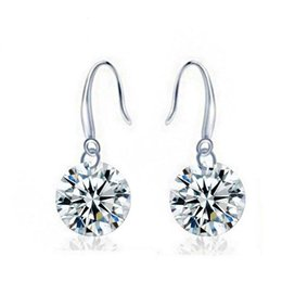 Wholesale Jewelry Wholesale Loose Diamonds - Zircon Loose Diamond Earrings Long Micro-inlaid Zircon Crystal White Fungus Ornaments Korea Hot Jewelry Fashion OL Source Wholesale Spot