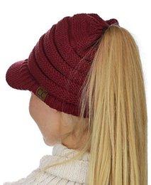Wholesale Knit Visor Hat - DHL Free CC Beanietail Warm Knit Messy High Bun Ponytail Visor Beanie Cap Ponytail Beanie Baseball Cap Back Hole Pony Tail Hat