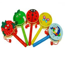 Wholesale Kids Wooden Musical Instruments - Infant Wooden Rattle Toys Pellet Drum Cartoon Design Musical Instrument Toy For Kids Early Puzzle Education Props Hot Sale 2qy Z