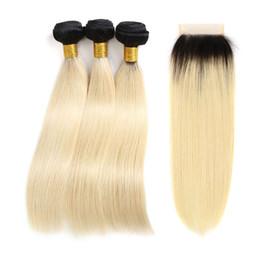 Ombre Kapatma Demetleri Düz Brezilyalı 1B / 613 Sarışın Iki Ton Siyah Kökleri Insan Saçı 3 Demetleri Ile 4 * 4 Ücretsiz Bölüm Dantel Kapatma nereden