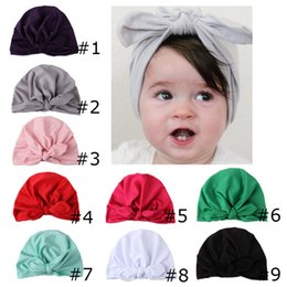 Wholesale bunny beanie baby - New Europe US Baby Hats Bunny Ear Caps Turban Knot Head Wraps Infant Kids India Hats Ears Cover Childen Milk Silk Beanie BH700