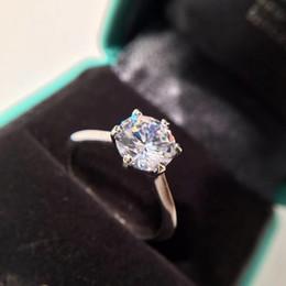 925 einfache sterling silber ringe online-Echt 925 Sterling Silber CZ Diamant RING mit LOGO schlichtes Design für Ehering Engagement Schmuck für Frauen PS5461