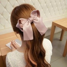 Boutique de lazo de satén online-Ribbon Bow Hair Band Big Large Fashion Mujeres Niñas Satin Trendy Ladies Casual 1pc Nuevo Boutique Wild Cute Horquilla