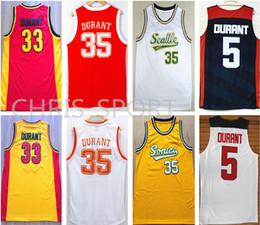 lbj elite Promotion Maillot de basketball de joueur universitaire du Texas, Oak Hill high school # 33, Kevin Durant, maillots FMVP, États-Unis / golden 35 wear