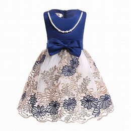 Wholesale Necklace Lines - INS Girl Princess Dress With Necklace Embroidered Flower Style Summer Petal Sleeveless Tutu Dress Kids Elegant Dress NEW Arrival
