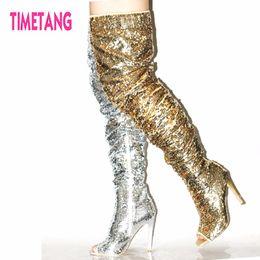 Argentina Regalo increíble Nuevo 2018 TIMETANG Super Star Bling Glitter Botas largas para mujer Modelo sexy Dama Peep Toe sobre la rodilla zapatos de mujer supplier amazing shoe Suministro