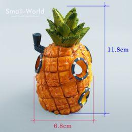 New Design Resin Craft Pineapple House Building Figure Toys Home Fish Tank  Aquarium Decoration Accessories Fairy Garden Ornaments