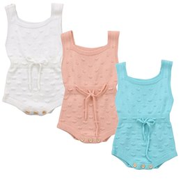 Вязать жилет девочек онлайн-Autumn Winter Newborn Baby Boy Girl Sleeveless Knit Romper Jumpsuit Warm Clothes Vest Overall Knitted Outfits Baby Clothes