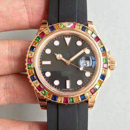 Wholesale Rubber Strap Mens Watches - Tutti Frutti Luxury 2018 Yacht AAA Master Diamond Bezel Mens Mechanical Rubber Strap Automatic Movement 116695 Sports Mens Watches