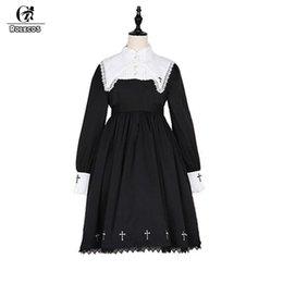 015772bc97f7 ROLECOS Steampunk Darkness Cross Dress per le donne Gothic Lolita Nun  sorella pizzo abito manica lunga ricamo croce Cosplay abito gotico lolita  cosplay in ...