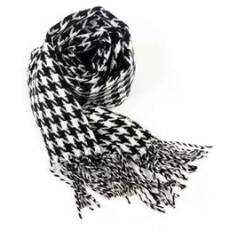 Wholesale Neckerchiefs For Men - Mens Checkered Scarf Warm Scarves for Men Cashmere Like Shawl Houndstooth Blanket Plaid Wrap with Tassel Check Neckerchief