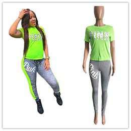 Wholesale Green Striped Leggings - Pink Letter Print Tracksuits love pink leopard Two Piece Set Street T-shirt Tops Striped leggings Jogger Suits Casual Outfits SALE