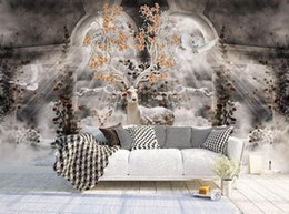 Wholesale Backdrop Fantasy - wallpaper for walls 3 d for living rooNeed for European fantasy atmosphere clouds forest elk living room backdrop