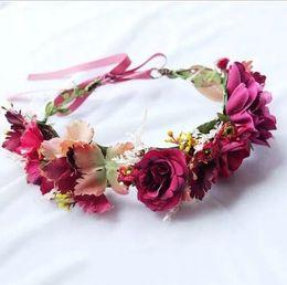 Wholesale princess hair weave - Bridal wreath simulation flowers garlands children stereo flowers rattan weaving designer headbands girls princess hair accessoires YA0372