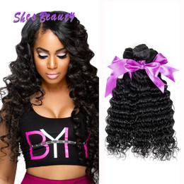 Armadura barata del pelo humano de la buena calidad online-El cabello humano indio Shesbeauty barato de la onda profunda teje extensiones 100% sin procesar del pelo humano paquetes de 3 extensiones de la armadura del pelo buena calidad