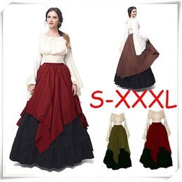Wholesale black renaissance dresses - HOT!Women Halloween Cosplay Costume Medieval Renaissance Adult Witch Gothic Queen of Vampire Black Fancy Dress Girls Outfit Dress Size S-3XL