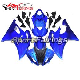 yamaha r6 abs plastica Sconti Carene complete moto per Yamaha YZF600 R6 YZF-R6 2008 - 2016 14 15 16 iniezione plastica ABS copertura carrozzeria blu puro nuovo