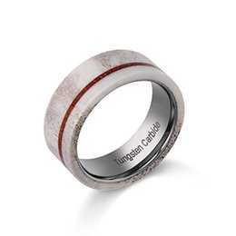 Wholesale Hunting Channel - Latest Mens Fashion Jewelry 8mm Tungsten Ring Wedding Band with Real Deer Antler and Koa Wood Inlay Hunting Ring,Size 8-12,Include Half Size
