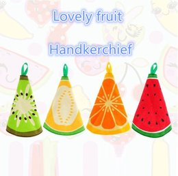Wholesale Handkerchief Towel - Hangable cartoon fruit pattern wipes Water absorbent cloth in the kitchen Put on a towel Hand cloth Towel Handkerchief for children T4H0262
