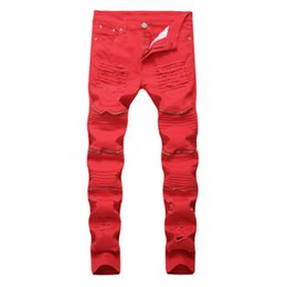 Wholesale street trade - new high street tide brand hot sell new trade men's feet stretch pants male trousers zipper tide brand 009 red cozy pants