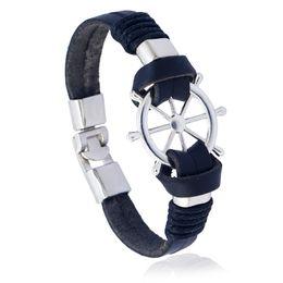 Wholesale boat anchor bracelet - 21cm Black Brown Leather Bracelet & Bangles Alloy Boat Anchor Rudder Marin Sailor Sea Men Wristband Viking Pirate Vintage Jewelry for Male