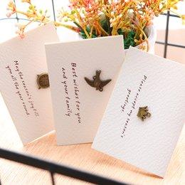 Wholesale White Greeting Cards Envelopes - 1Pcs Clover Dove Camera Sailboat Tower White Mini Greeting Card Postcard Birthday Letter Envelope Gift Card Message E2116
