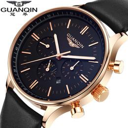 Wholesale Guanqin Watches - Men Watch Top Brand Luxury GUANQIN Fashion Casual Sport Waterproof Quartz-Watch Genuine Leather Watchband Relogio Masculino 2016