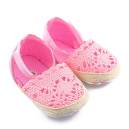 Wholesale Stripe Bow Shoes - 1 Pair 2017 High Quality Hot Selling New Baby Girls Shoes Summer stripe Bow cotton Toddler Princess Soft Sole 0-18M