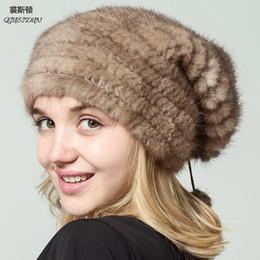2018 Sombrero de Piel de Visón Natural Real Invierno de Punto Sombreros de Visón  Para Las Mujeres Caliente NEGRO Pieles Gorra señora Gorros Rusia mujer ... e36fa92eca9c