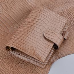 Wholesale pocket agenda - 100% Genuine Leather Rings Not19.2x13.5cm Gold Binder Daily Planner Handmade Personal Diary Agenda Organizer Money Pocket
