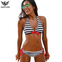 Wholesale Brazillian Swimwear - NAKIAEOI 2016 Sexy Bikinis Women Swimsuit Swimwear Halter Top Plaid Brazillian Bikini Set Bathing Suit Summer Beach Wear Biquini
