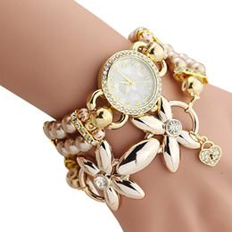 Wholesale women chain wrist watches - Bracelet Watch Women Ladies Fashion Quartz-watch Female Clock Flower Imitation Pearl Chain Wrist Watches Quartz LXH