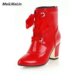 botas de tornozelo de salto grosso vermelho Desconto MeiLiKeLin Mulheres Tornozelo Vermelho Botas Grossas de Salto Alto Lace-up Botas de Equitação Mulheres Sexy Inverno Senhora de Inverno de Inverno Bombas Sapatos