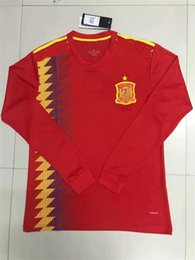 Wholesale Spain Long Sleeve - 2018 World Cup Spain Soccer Jerseys Long sleeves MORATA ISCO ASENSIO RAMOS SILVA PEDRO TORRES A.INIESTA Spain Football Wholesales WC Jerseys