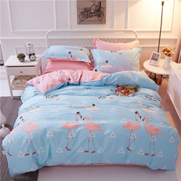 Wholesale King Grey Bedding Sets - Monily Bedding Sets Simple Animal Lovely Flamingo Geometric Words Blue Pink Grey Duvet Cover Heart King Queen Size Bedclothes