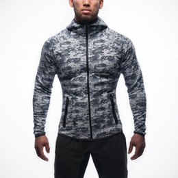 Wholesale Men Body Fit - Men's Sportswear For Training Fashion Cardigan Zip Hoodies For Men Fit Body Camouflage Hoodies For Running