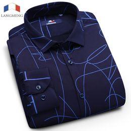 Wholesale Thick Warm Winter Mens Shirts - Langmeng 2017 New Fashion Mens Shirt Long Sleeve Dress Shirt Men Business Casual Shirts Slim Fit Winter Warm Shirts thick fabric