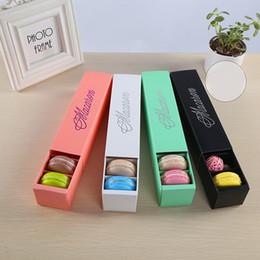 Wholesale Wholesale Chocolate Cake Boxes - Macaron Box Cake Boxes Home Made Macaron Chocolate Boxes Biscuit Muffin Box Retail Paper Packaging 20.5*5.4*5.3cm wen5050