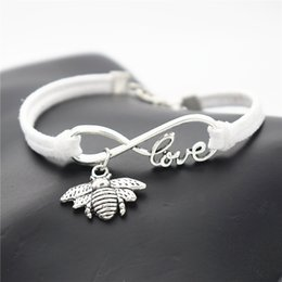 Wholesale Bee Link - AFSHOR Fashion Antique Silver Insect Cute Honeybee Bee Charm Pendant Infinity Love Gifts Leather Suede Bracelet for Women Men Unique Jewelry