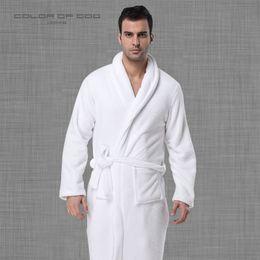 Marca de fábrica 100% algodón para hombre Albornoz Grueso Cálido vestido de noche de invierno Blanco puro Ropa Hombre Bata de baño Salón Homme Kimono desde fabricantes