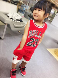 Wholesale Wholesale Basketball Clothing Sports - Children's basketball sports clothes 23 Bulls Tops Shirts +Shorts Children kids Sportswear Clothes Suits 3 colors